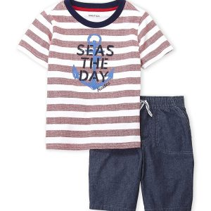 NAUTICA (Infant Boys) Two-Piece Stripe Seas The Day Tee & Chambray Shorts Set