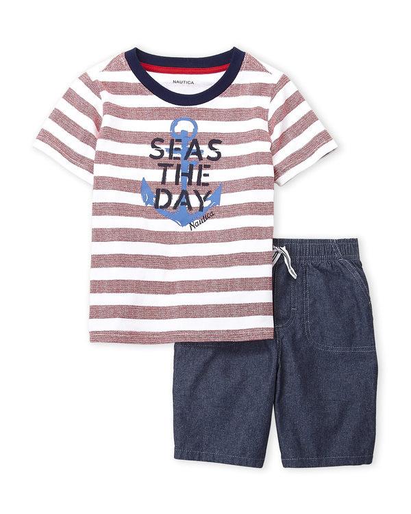 NAUTICA (Infant Boys) Two-Piece Stripe Seas The Day Tee & Chambray Shorts Set