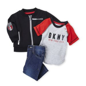 DKNY (Newborn Boys) 3-Piece Knit Bomber Jacket & Jeans Set