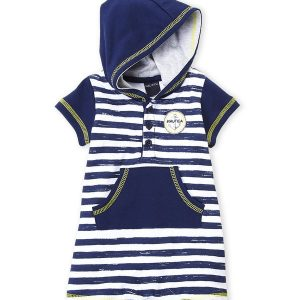 NAUTICA (Newborn Boys) Stripe Hooded Romper