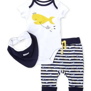 ABSORBA (Newborn Boys) 3-Piece Fish Bodysuit & Stripe Pants Set
