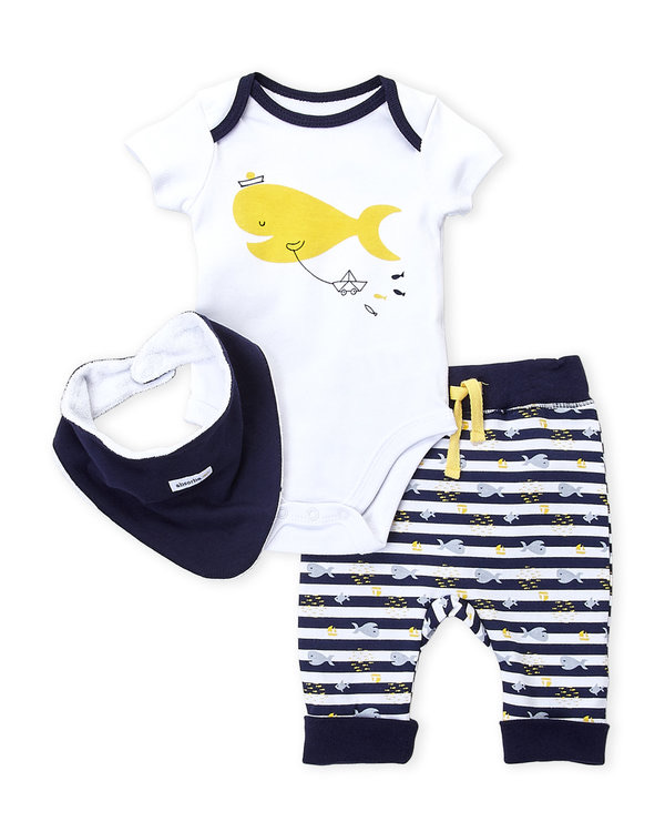 ABSORBA (Newborn Boys) 3-Piece Fish Bodysuit & Stripe Pants Set