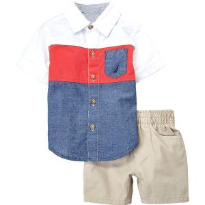 NAUTICA (Infant Boys) Two-Piece Color Block Shirt & Shorts Set