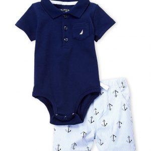 NAUTICA (Newborn Boys) Two-Piece Bodysuit & Anchor Shorts Set