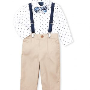 NAUTICA (Newborn Boys) 4-Piece Sailboat Bodysuit & Khaki Pants Set