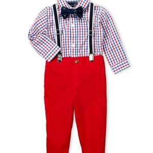 NAUTICA (Newborn Boys) 4-Piece Check Bodysuit & Pants Set