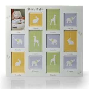 "HOME 18"" x 19 1/2"" White Baby's First Year Picture Frame"