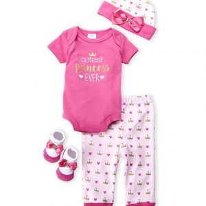 BABY ESSENTIALS (Newborn Girls) 4-Piece Princess Bodysuit, Pants, Hat & Socks Set