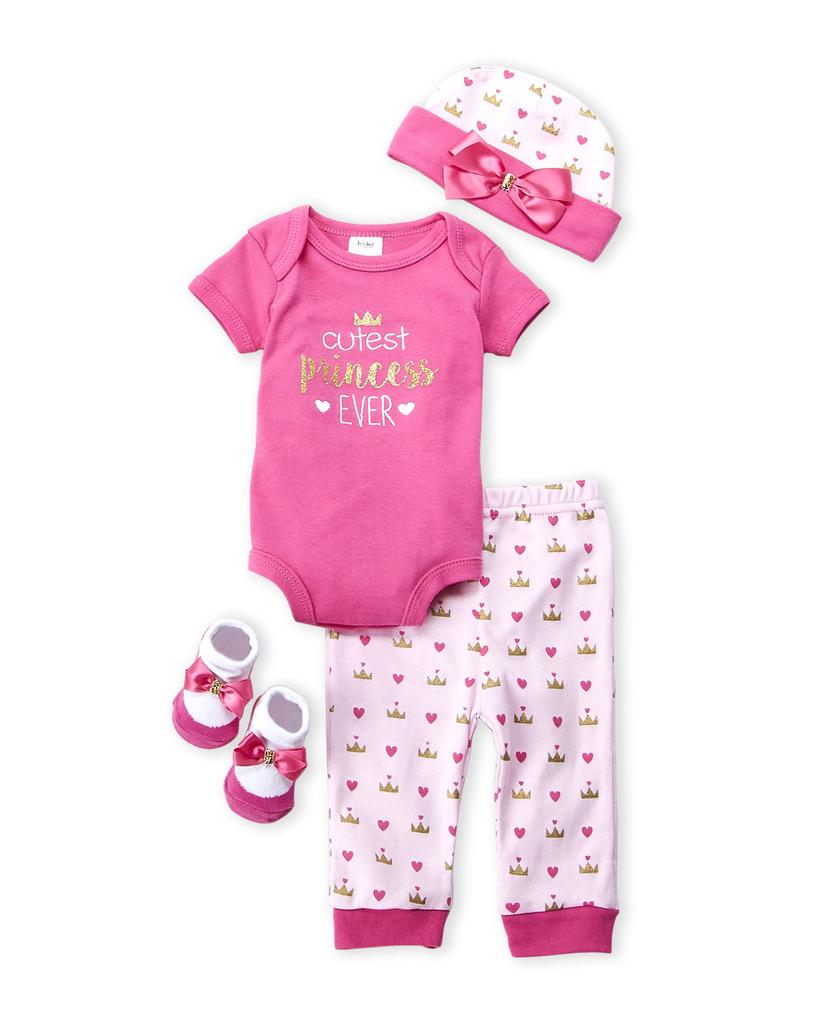 BABY ESSENTIALS (Newborn Girls) 4-Piece Princess Bodysuit, Pants, Hat & Socks Set