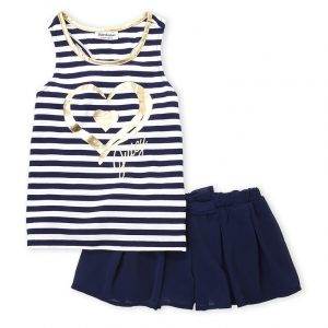 JUICY COUTURE (Infant Girls) Two-Piece Stripe Logo Tank & Shorts Set