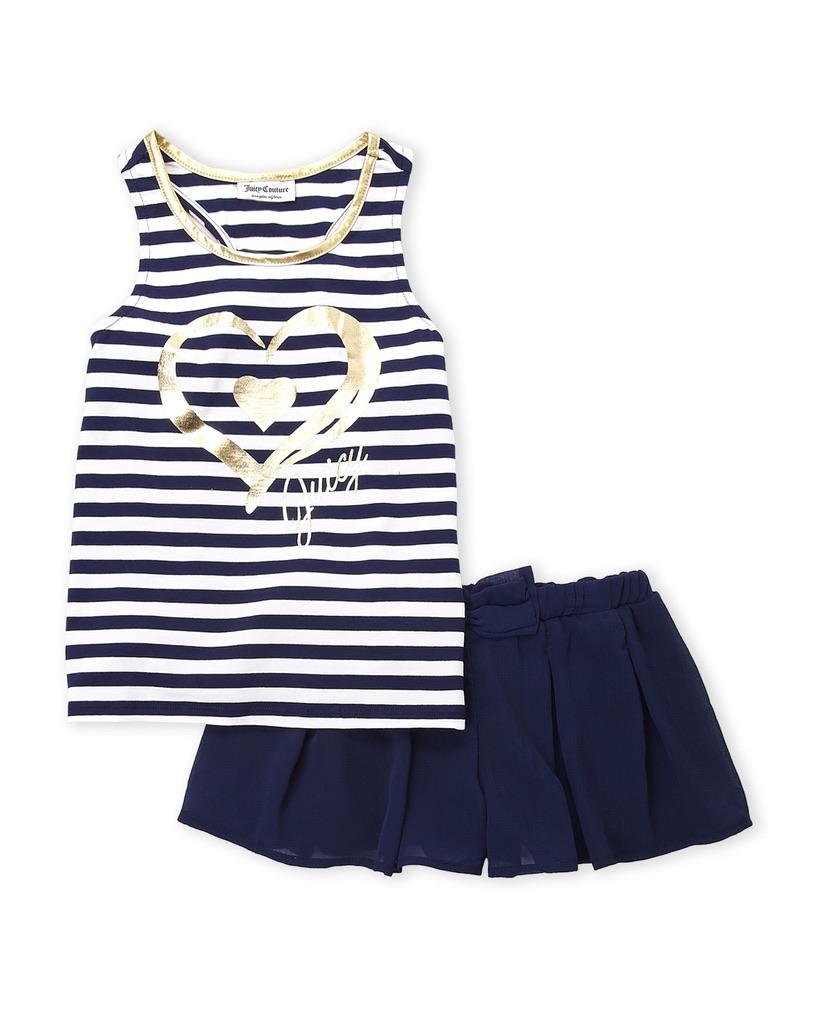 JUICY COUTURE (Infant Girls) Two-Piece Stripe Logo Tank & Shorts Set