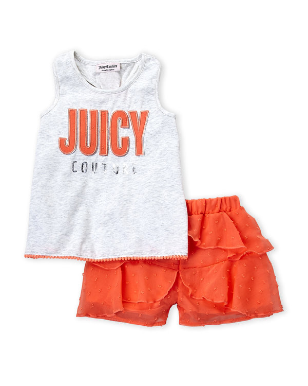 JUICY COUTURE (Infant Girls) Two-Piece Logo Tank & Ruffle Shorts Set