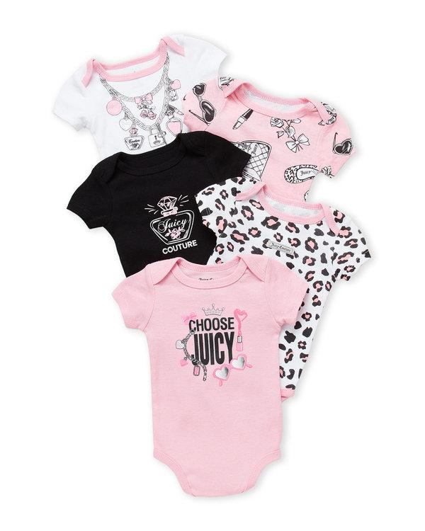 JUICY COUTURE (Newborn Girls) 5-Pack Charm Bodysuit Set