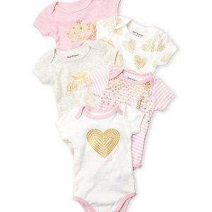 JUICY COUTURE (Newborn Girls) 5-Pack Heart Bodysuit Set