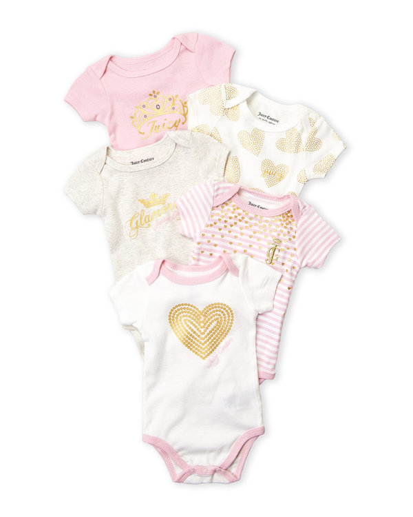 JUICY COUTURE (Newborn Girls) 5-Pack Heart Bodysuit Set
