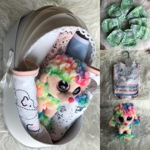 unicorn toy & bibs set