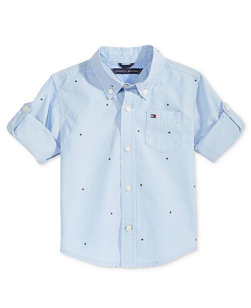 Micro-Print Cotton Shirt, Baby Boy