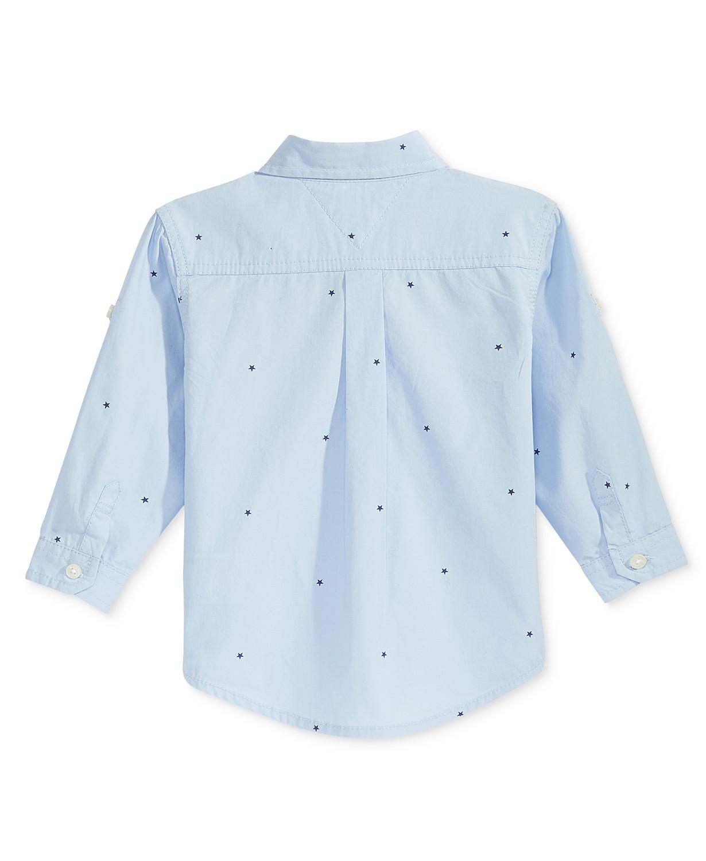 Micro-Print Cotton Shirt, Baby Boys
