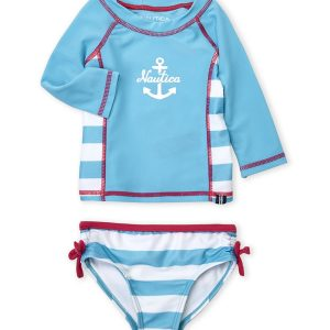NAUTICA (Infant Girls) Two-Piece Rash Guard & Bikini Bottom