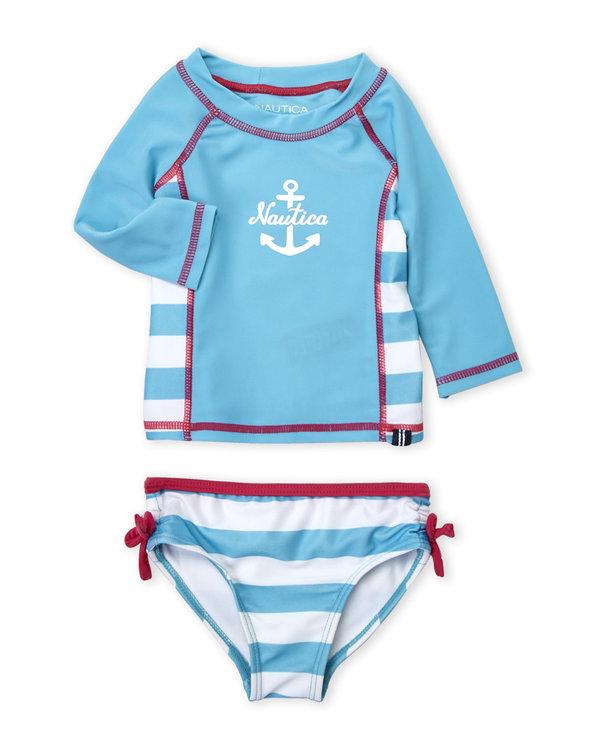 NAUTICA (Infant Girls) Two-Piece Rash Guard & Bikini Bottom