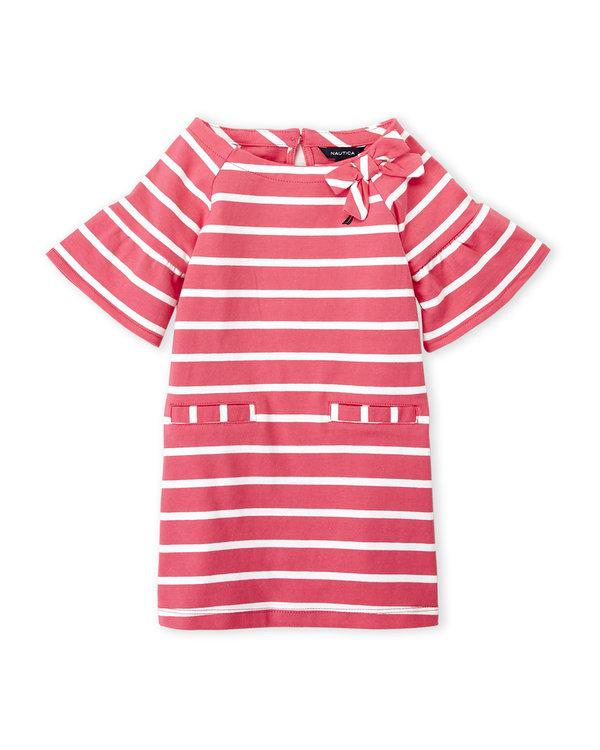 NAUTICA (Infant Girls) Two-Piece Stripe Jersey Shift Dress & Bloomers Set