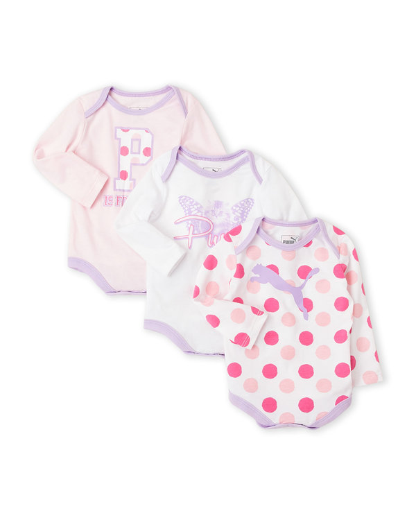 PUMA (Newborn Girls) 3-Pack Printed Bodysuits