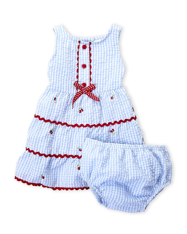 SAMARA (Infant Girls) Two-Piece Gingham Dress & Bloomers Set