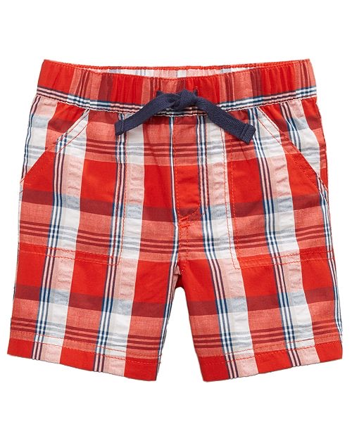 Plaid Cotton Seersucker Shorts, Baby Boys