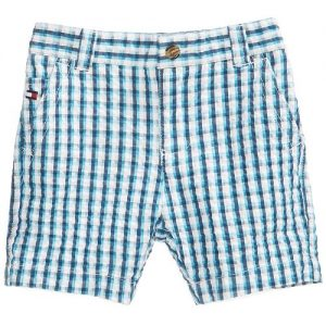 Gingham-Print Cotton Seersucker Shorts, Baby Boys
