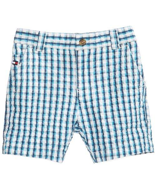 Gingham-Print Cotton Seersucker Shorts, Baby Boys