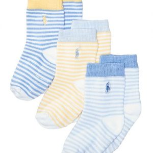 Ralph Lauren 3-Pk. St. James Striped Crew Socks With Grippers, Baby Boys