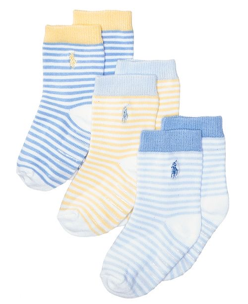Ralph Lauren 3-Pk. St. James Striped Crew Socks With Grippers, Baby Boys
