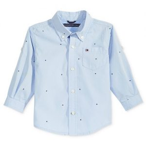 Micro-Print Cotton Shirt, Baby Boys
