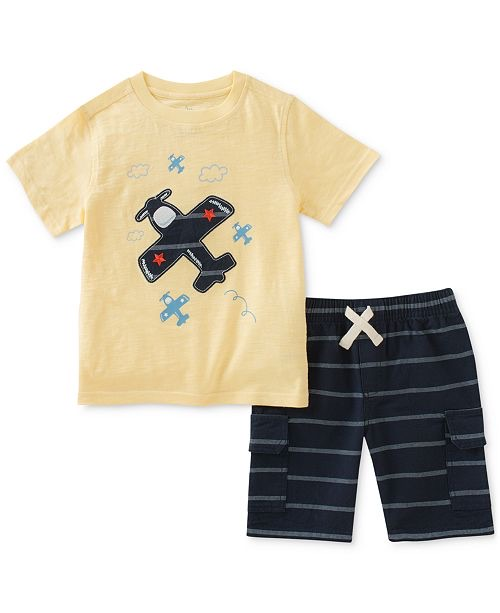2-Pc. Graphic-Print Cotton T-Shirt & Striped Shorts Set, Baby Boys