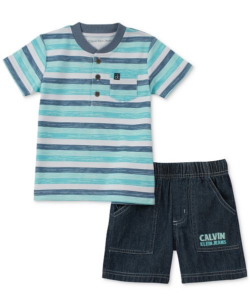 Calvin Klein 2-Pc. Striped Henley & Shorts Set, Baby Boys