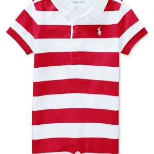 Ralph Lauren Striped Rugby Cotton Romper, Baby Boys