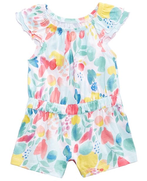 Aloha Floral-Print Romper, Baby Girls,