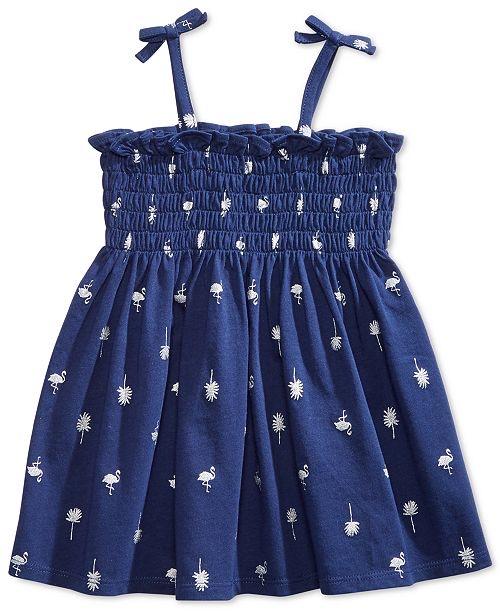 Baby Girls Dot-Print Smocked Cotton Sundress