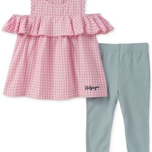 2-Pc. Gingham Cold-Shoulder Tunic & Leggings Set