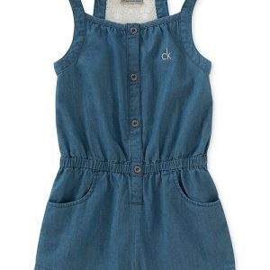Chambray & Lace Cotton Romper