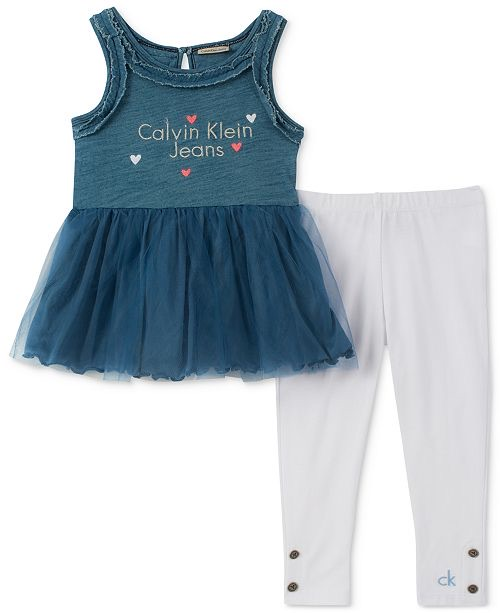 2-Pc. Denim & Tulle Tunic & Leggings Set