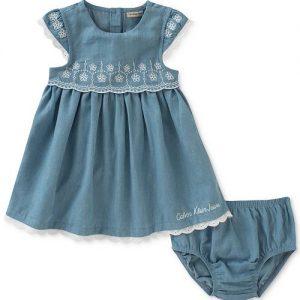 Chambray & Eyelet Dress,