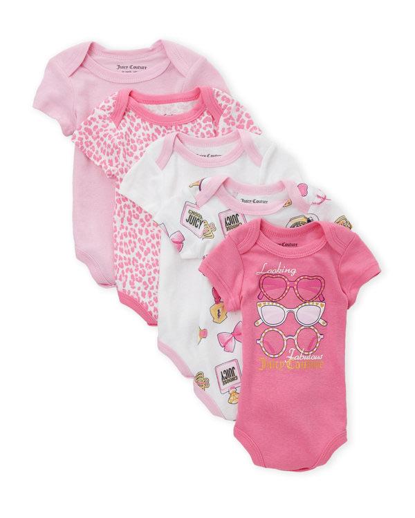 JUICY COUTURE (Newborn Girls) 5-Pack Sunglass Bodysuits