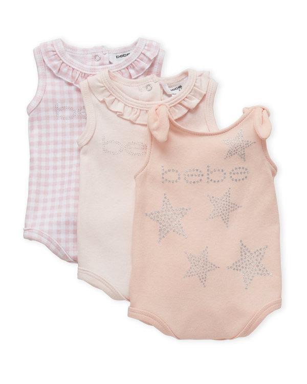BEBE BABY (Newborn Girls) Two-Pack Flutter Sleeve Bodysuit Set