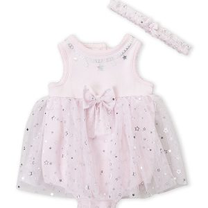 LITTLE ME (Newborn/Infant Girls) Two-Piece Metallic Star Tutu Bodysuit & Headband Set