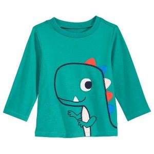T-Rex-Print Cotton T-Shirt, Baby Boys