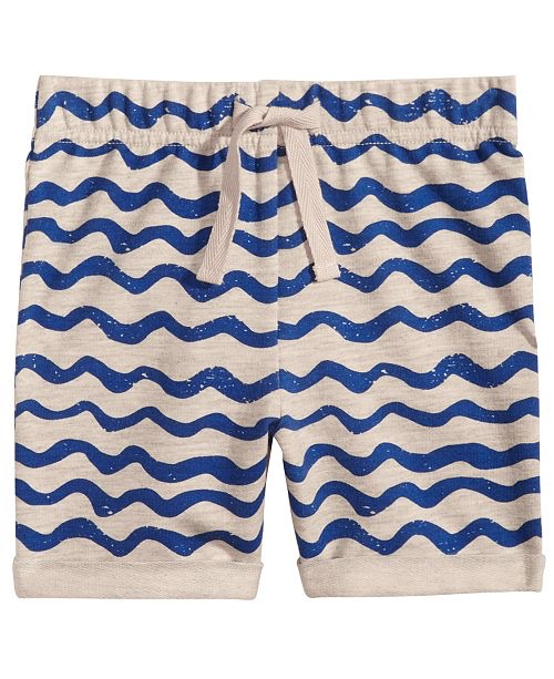 Wave-Print Pull-On Shorts