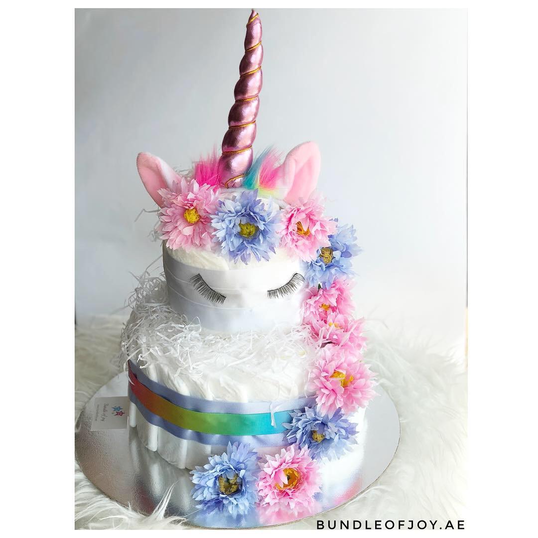unicorn theme diaper cake
