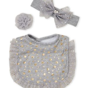 BOW FANCY (Toddler Girls) 3-Piece Star Tulle Bib Set