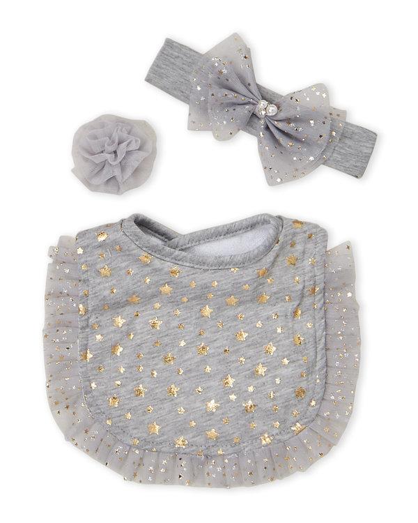 BOW FANCY (Toddler Girls) 3-Piece Star Tulle Bib Set